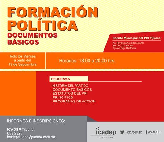Invita Icadep Tijuana a ciclo de Formación Política 2014