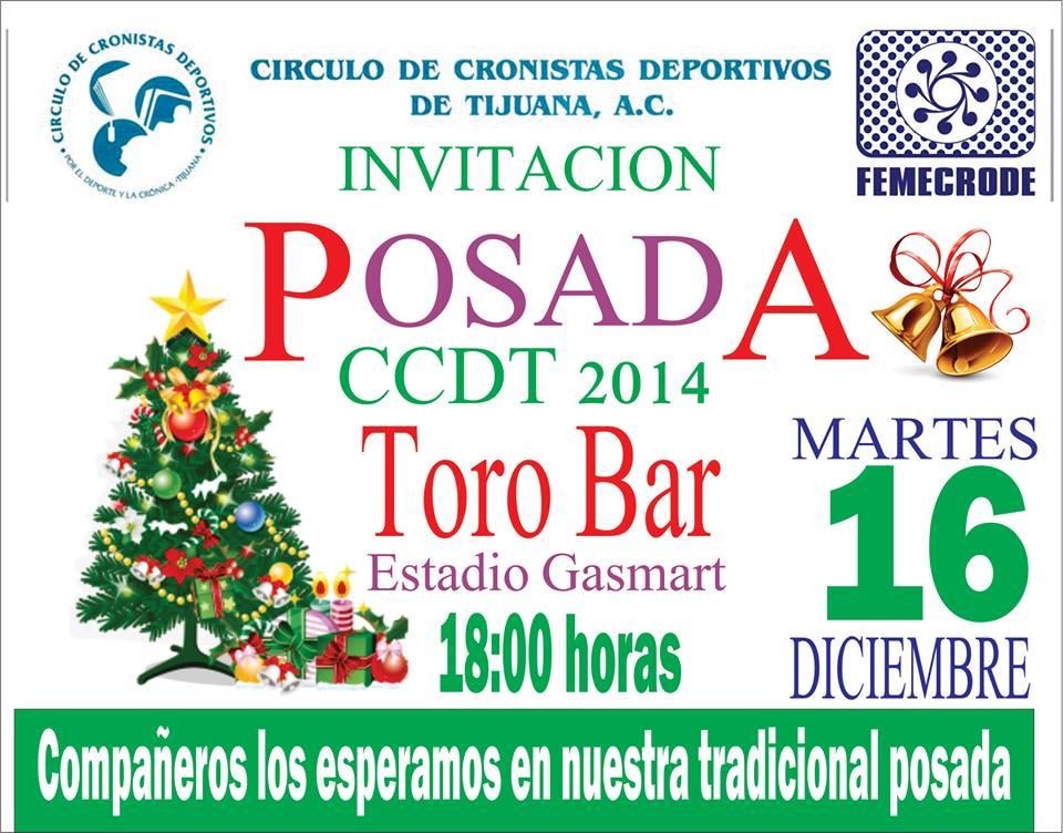 Este martes 16 la posada 2014 del Círculo de Cronistas Deportivos de Tijuana