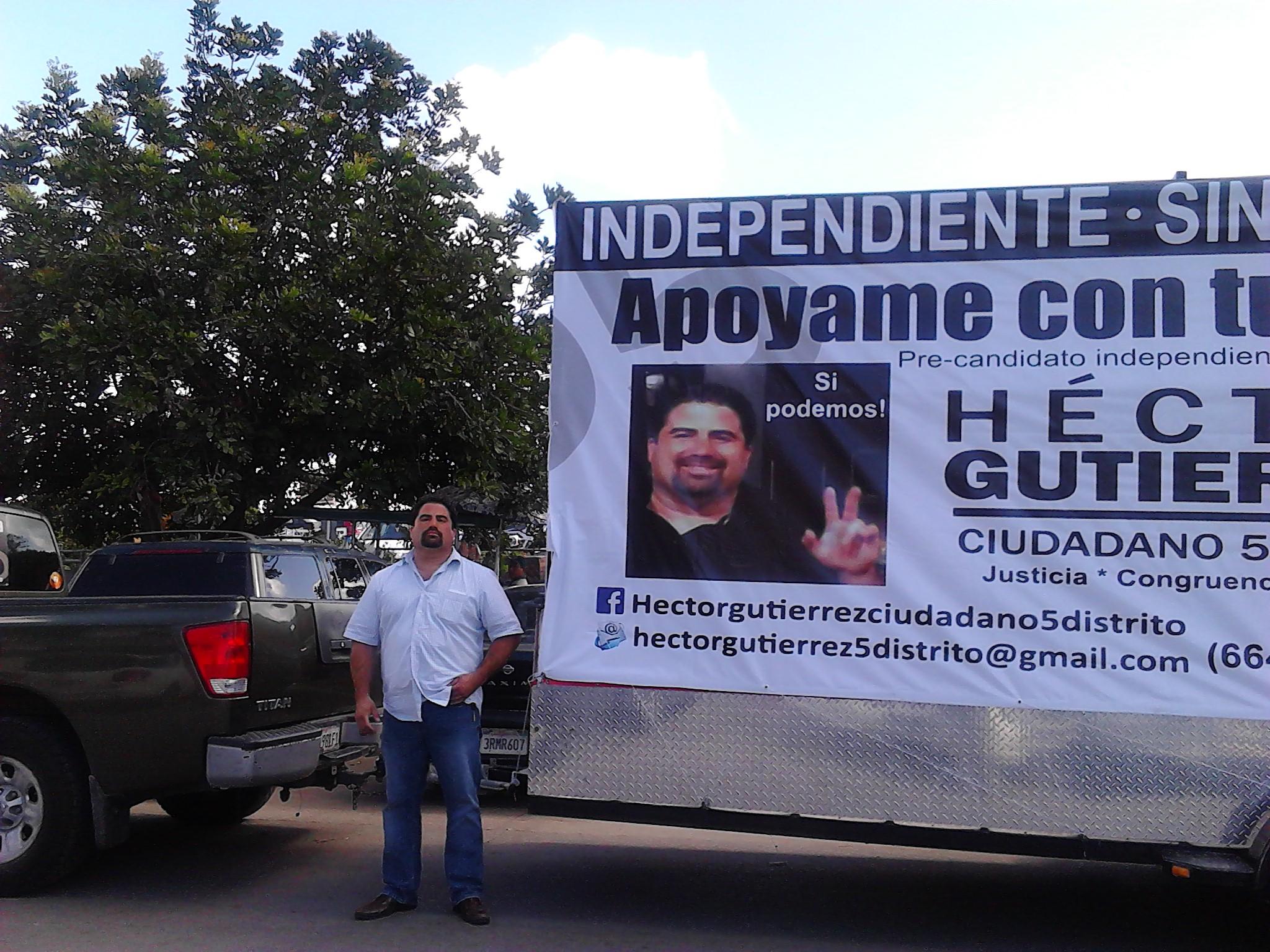 Desata pasiones lucha de precandidato ciudadano sin partido, Héctor Gutiérrez