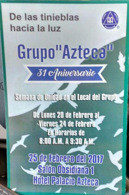 Grupo Azteca de AA celebrará 31 aniversario
