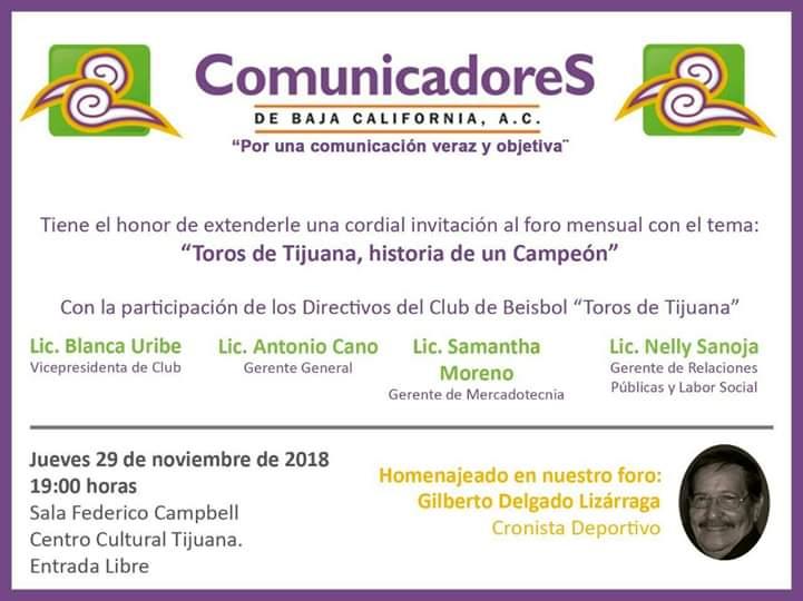 Hablarán de Toros de Tijuana y  beisbol en el Cecut