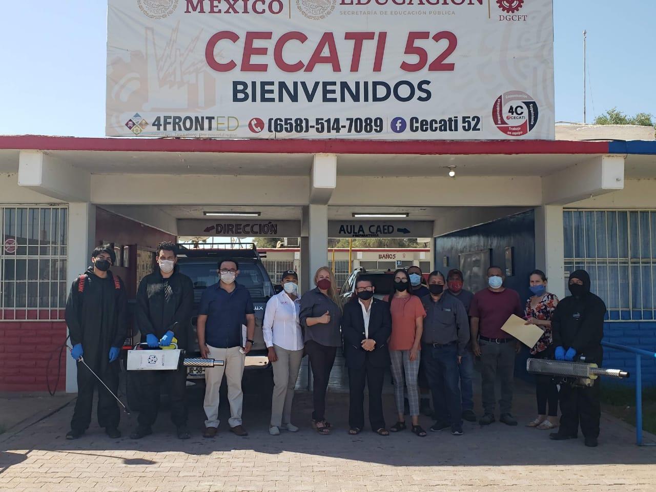 Clúster Aeroespacial desinfectó dos  escuelas en Mexicali