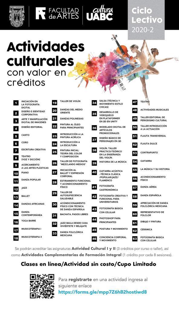 FACULTAD DE ARTES ANUNCIA EL INICIO DEL PROGRAMA DE ACTIVIDADES CULTURALES CON VALOR EN CRÉDITOS