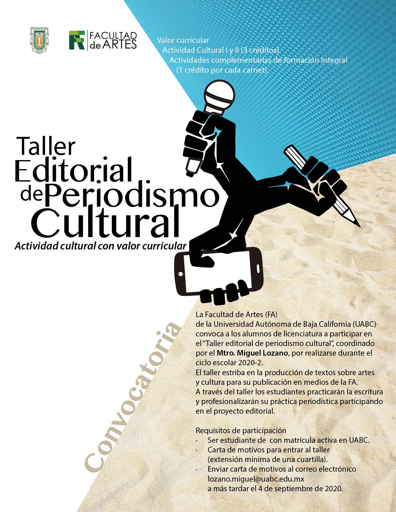 Impartirán en UABC Taller Editorial de Periodismo Cultural