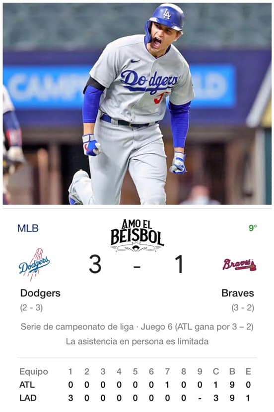 Dodgers forzó séptimo  juego ante Bravos, 3-1