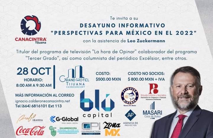 Disertará Leo Zuckerman sobre Perspectivas para México en 2022